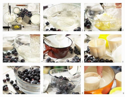 Preparing buttermilk cream with blueberries