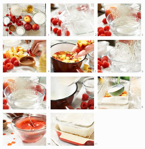 How to make kefir jelly with nectarines and raspberry coulis