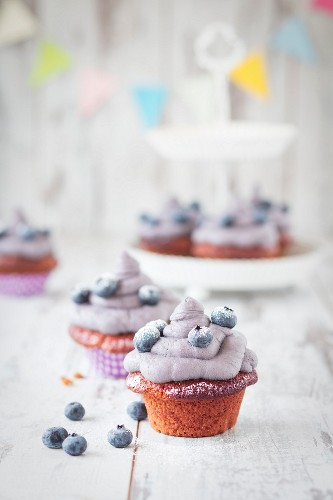Red velvet cupcakes with blueberries