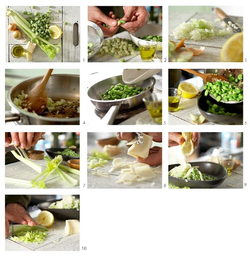 How to make broad beans with celery and Parmesan