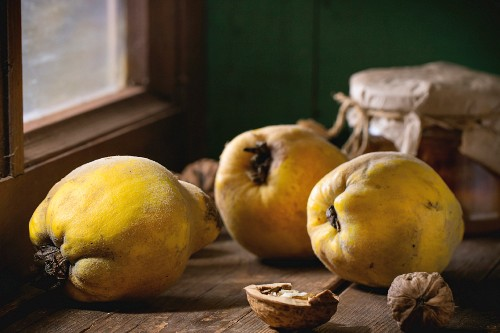 Three juicy quinces, walnuts and jar of honey over wooden table near window