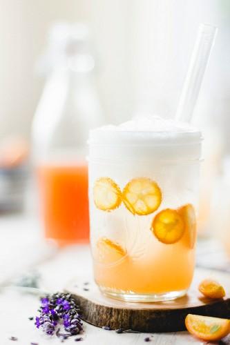 Lavender kumquat soda