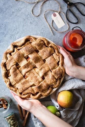 Apple and quince lattice pie, Gluten free