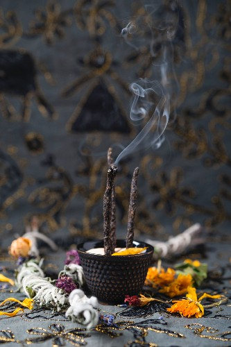 Homemade incense sticks and herb bouquets for burning