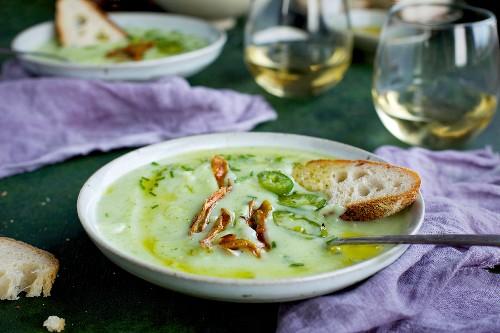 Cream of Potato Chive Soup with Chili Oil, Roasted Jalapeno and Crispy Potato Skins