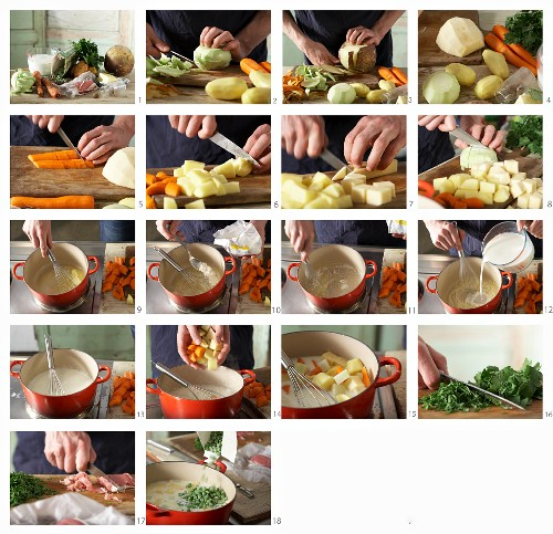 How to make Schnüsch (milk and vegetable stew with ham, Northern Germany)