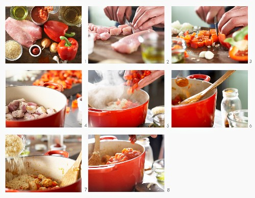 How to make rice with turkey, pepper and tomato (Serbia)