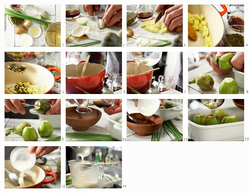 How to make green peppercorn soup with baked figs