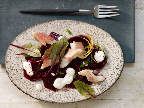 Marinated beetroot with smoked trout and horseradish cream