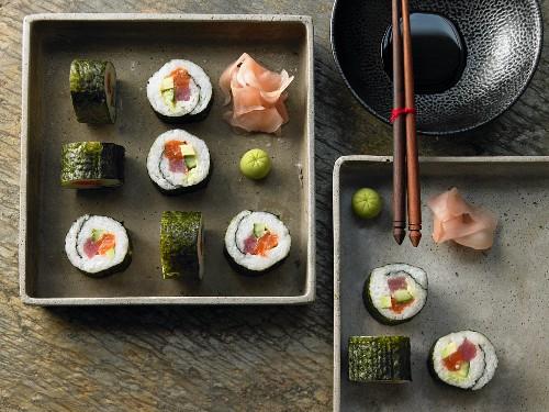 Maki sushi with tuna, salmon, cucumber and avocado