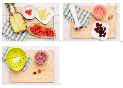 How to make a pineapple, cherry and watermelon smoothie with fruit pies