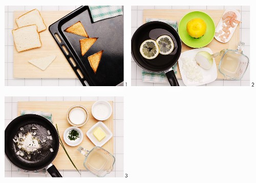 How to prepare toast with shrimp and chives