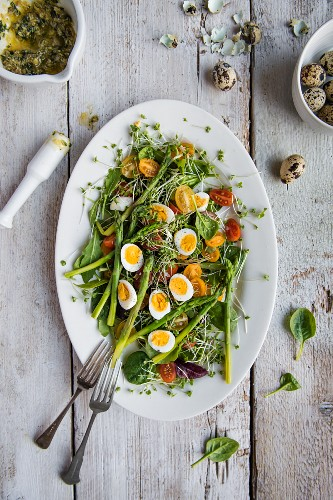 Spring salad with asparagus, tomatoes, cress, spinach, quails eggs and basil pesto, view from above