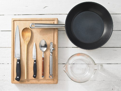 Kitchen utensils for making a salmon and cucumber dish
