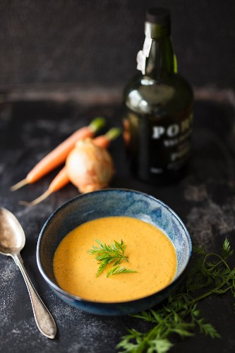 Carrot cream soup with dill and port wine
