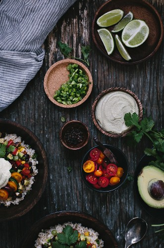 Ingredients for Mexican burrito bowls with cashew and cream sauce
