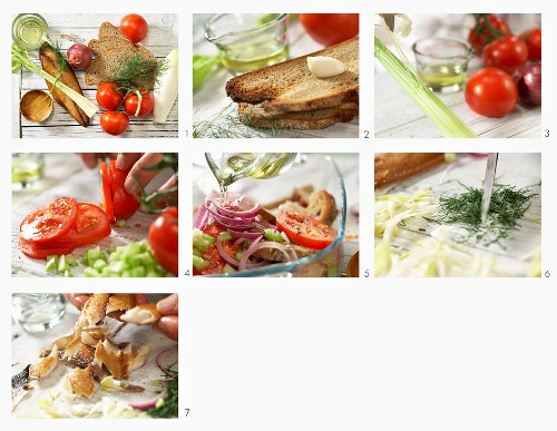 How to make a Bornholm bread salad with a mackerel fillet