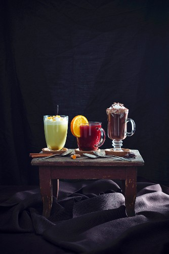 Golden milk, fruit punch and hot chocolate (vegan)