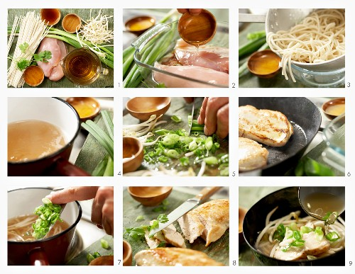 How to make noodle soup with a teriyaki chicken breast (Japan)