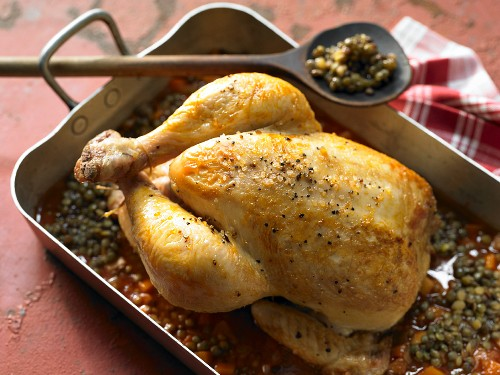 Roast chicken on lentils with balsamic vinegar and honey