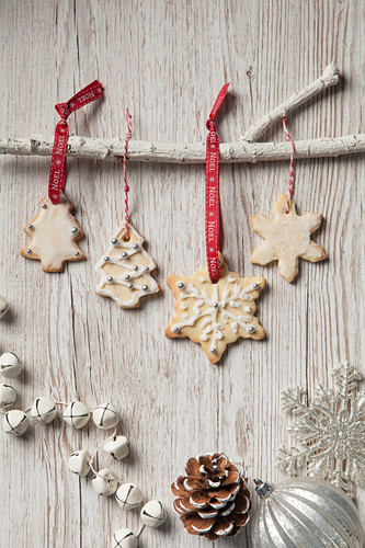 Edible Christmas tree decoration biscuits in the shape of trees and snowflakes iced and haning by red Noel ribbon and bakers twine from a white branch on a rustic white wood background and other Christmas decorations