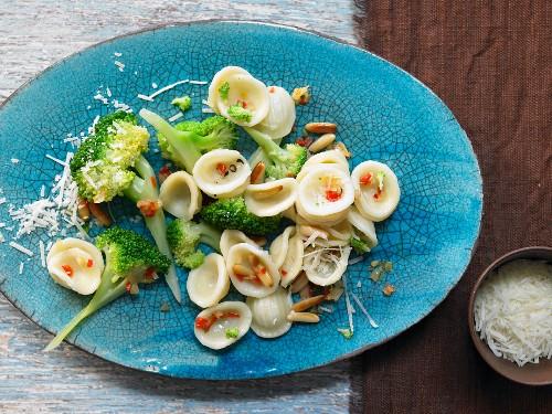 Orecchiette with broccoli, chilli and pine nuts