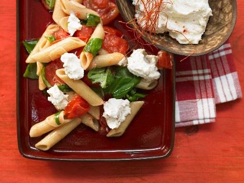 Penne with chilli ricotta, tomatoes and basil