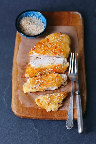 Chicken breast coated in couscous
