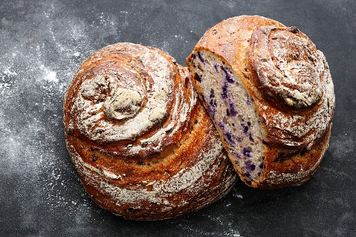 Red cabbage loaf with sourdough that been made in a single stage