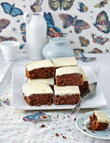 Coffee cake with icing, cut into squares