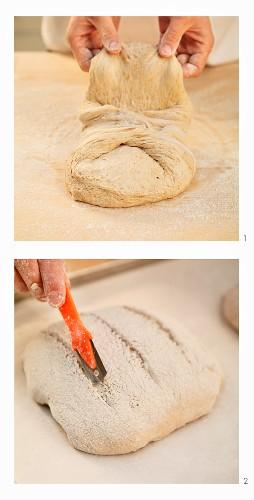 Schweizer Ruchbrot formen und einschneiden