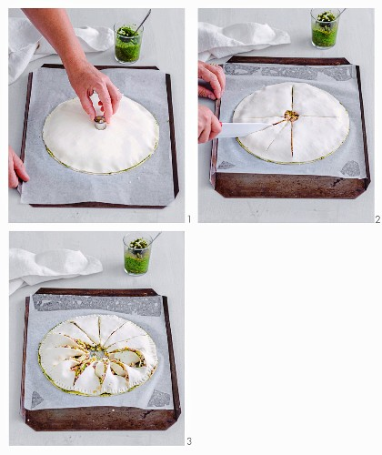 Windrad-Blätterteigpie zubereiten