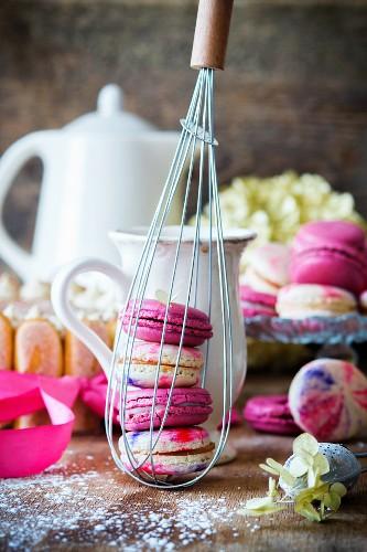 Homemade colourful macarons