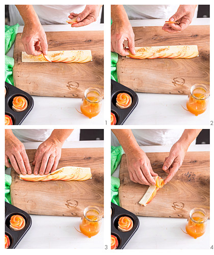 Apfelrosen-Muffins zubereiten