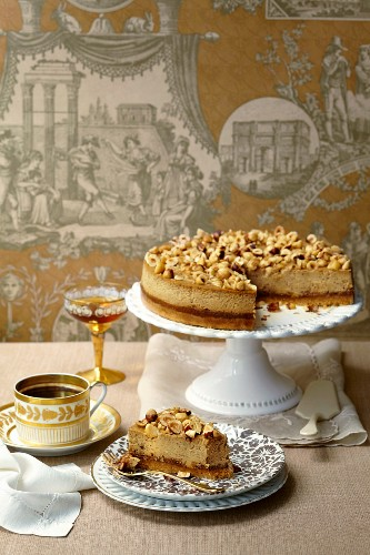 Espresso, fig and hazelnut cheesecake