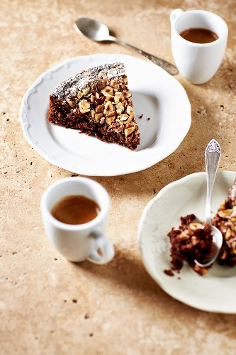 Slices of Chocolate Cake with Hazelnuts and Espresso