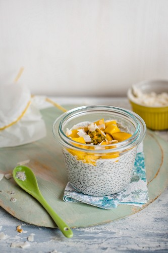 Coconut milk cia pudding with mango and passion fruit