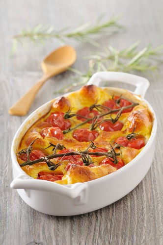 Casserole with cherry tomatoes