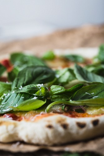 Homemade pizza with tomato, bocconcini and basil (close-up)