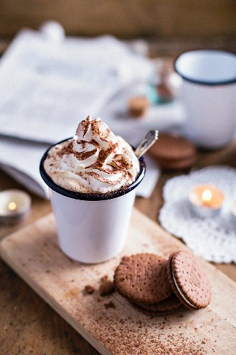 Coconut Whipped Cream With Cookies on a wooden table