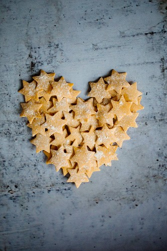 Pasta stars in a heart shape