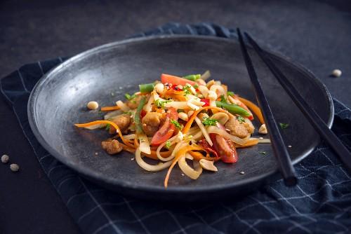 Vegan Som Tam (Thai papaya salad) with soya strips