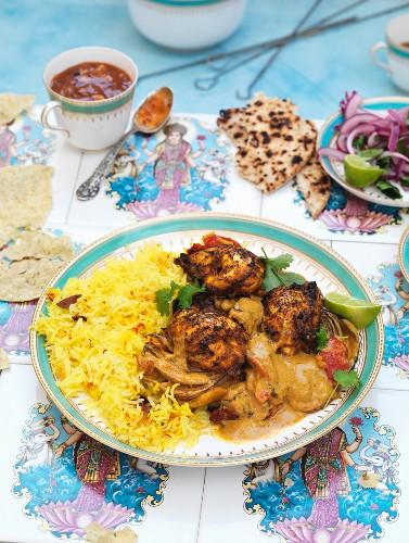 Chicken tikka with rice (India)