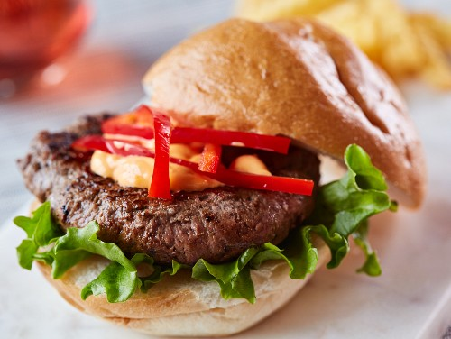 Hamburger with peppers