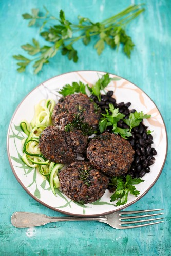 Buckwheat patties with black beans and courgette noodles