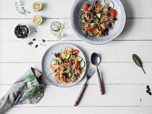 Healthy quinoa salad with fresh vegetables (seen from above)