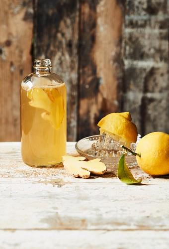 Homemade Kombucha tea with lemon and ginger