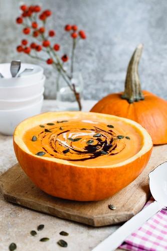 Pumpkin soup with pumpkin seeds and pumpkin oil