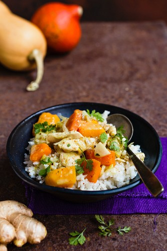Pumpkin curry with chicken and rice (Thailand)