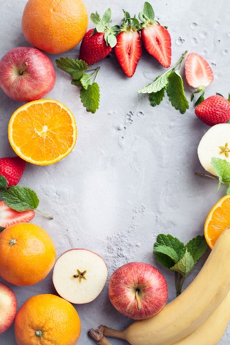 A background decorated with fresh fruit